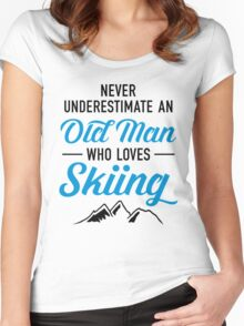 Never Underestimate An Old Man Who Loves Skiing Women's Fitted Scoop T-Shirt