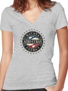 Havana afro cuban cuba Women's Fitted V-Neck T-Shirt
