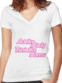 Act Like a Lady Women's Fitted V-Neck T-Shirt