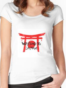 Welcome To Japan Red & Black Women's Fitted Scoop T-Shirt