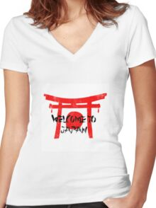 Welcome To Japan Red & Black Women's Fitted V-Neck T-Shirt