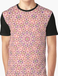 Pink Purple and Green Stripes and Triangle Pattern Graphic T-Shirt