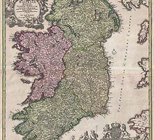 Vintage Map of Ireland (1716)  by BravuraMedia