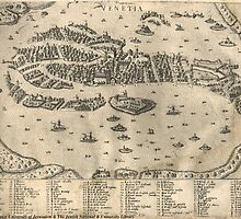 Vintage Pictorial Map of Venice Italy (1573) by BravuraMedia