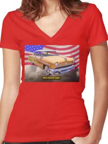 1955 Lincoln Capri Luxury Car And American Flag Women's Fitted V-Neck T-Shirt