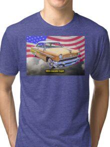 1955 Lincoln Capri Luxury Car And American Flag Tri-blend T-Shirt