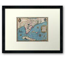 Vintage Map of Florida (1591)  Framed Print