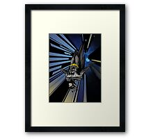 Batman diving from building Framed Print