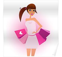 Shopper - shopping girl with pink shopping bags isolated on white Poster