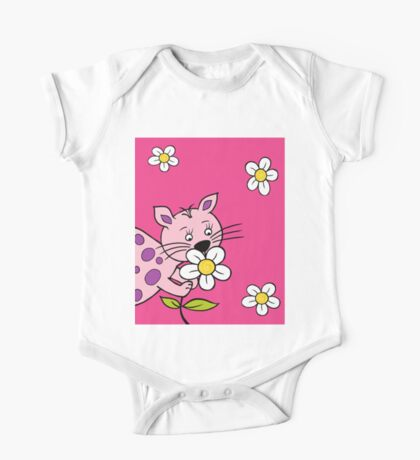 Cat smelling flowers One Piece - Short Sleeve