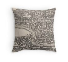 Vintage Map of Rome Italy (1652)  Throw Pillow