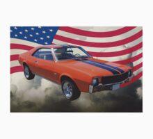 Orange 1969 AMC Javlin Car and American Flag Baby Tee