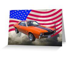 Orange 1969 AMC Javlin Car and American Flag Greeting Card