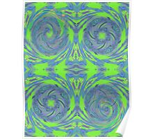 Green & Blue Fractal Pattern Poster