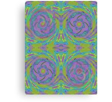 Psychedelic Green Purple Fractal Pattern Canvas Print