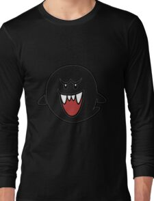Super Mario Bros Boo Shape Design Long Sleeve T-Shirt