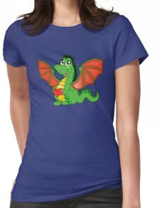 Happy Cartoon Dragon Girl Womens Fitted T-Shirt