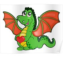 Happy Cartoon Dragon Girl Poster