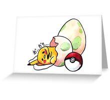 gudetama in pokemon egg Greeting Card