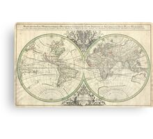 Vintage Map of The World (1691) Metal Print