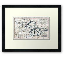 Vintage Map of The Great Lakes (1696)  Framed Print