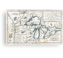 Vintage Map of The Great Lakes (1696)  Metal Print