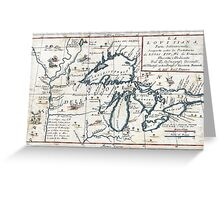 Vintage Map of The Great Lakes (1696)  Greeting Card
