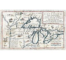 Vintage Map of The Great Lakes (1696)  Photographic Print