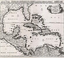 Vintage Map of The Caribbean (1696)  by BravuraMedia