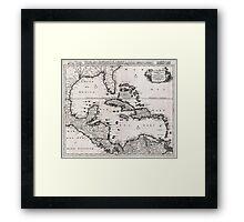 Vintage Map of The Caribbean (1696)  Framed Print