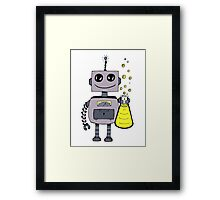 Cute Happy Robot  Framed Print
