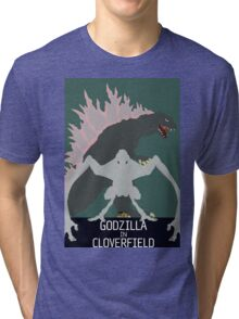 Godzilla In Cloverfield Poster Tri-blend T-Shirt