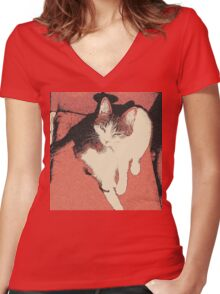 """Human, can't you see I'm """"bathing""""? Women's Fitted V-Neck T-Shirt"""