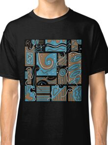 Blue and brown abstract art Classic T-Shirt