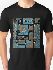 Blue and brown abstract art Unisex T-Shirt
