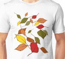Bunte Herbstblätter im Wind Unisex T-Shirt