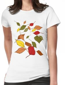 Bunte Herbstblätter im Wind Womens Fitted T-Shirt