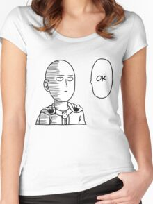 One Punch Man / OPM - Saitama Ok Face Women's Fitted Scoop T-Shirt