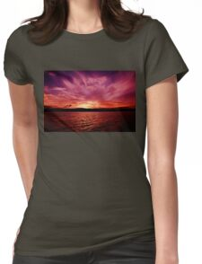Spectacular Orange Violet Ocean Sunset. Photo Art, Prints, Gifts. Womens Fitted T-Shirt