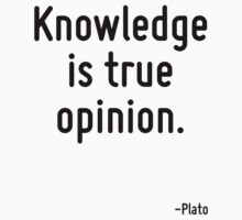 Knowledge is true opinion. by Quotr