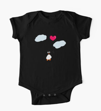 Penguin with Heart Balloon One Piece - Short Sleeve