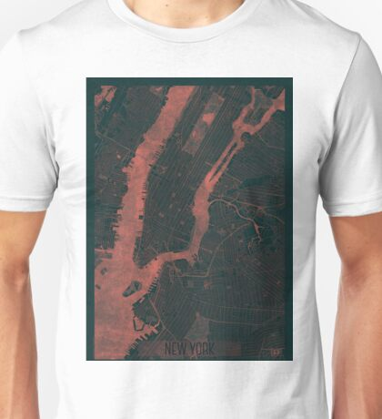 New York Map Red Unisex T-Shirt