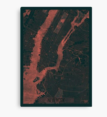 New York Map Red Canvas Print