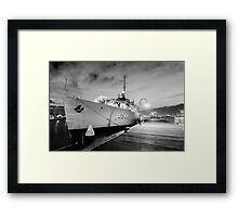 Navy Boat in Black and White Framed Print