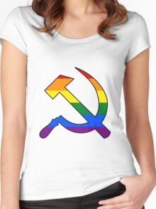 Gay Pride Rainbow Soviet Hammer And Sickle Women's Fitted Scoop T-Shirt