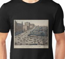 625 Type printing Central Park entrance at Fifth Avenue 59th Street Left 150 views of New York and environs Unisex T-Shirt