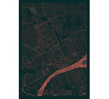 Detroit Map Red Photographic Print