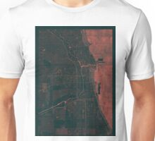 Chicago Map Red Unisex T-Shirt
