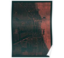 Chicago Map Red Poster