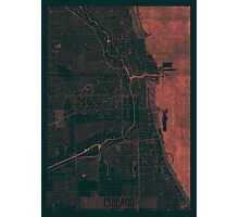 Chicago Map Red Photographic Print